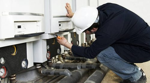 natural gas in the boiler room when maintenance fitters